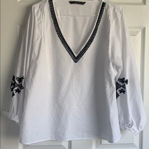 Zara white shirt with black embroidery